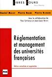 Réglementation et management des universités françaises.