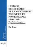 Histoire des diplômes de l'enseignement technique et professionnel (1880-1965). L'Etat, l'école, les entreprises et la certification des compétences.